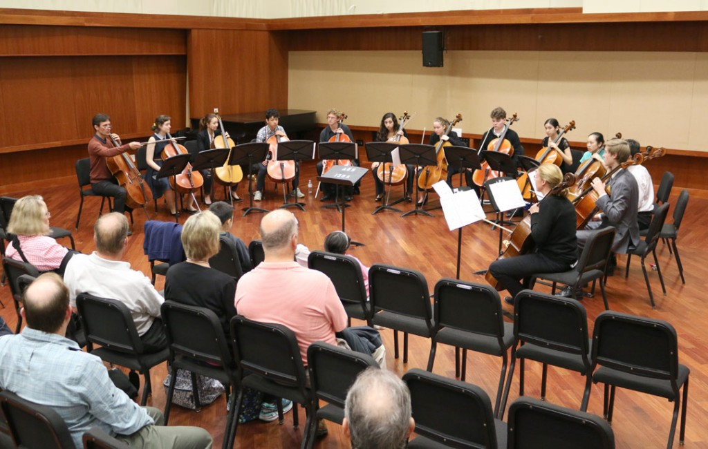 A dozen pre-college age cellists gathered for a workshop and performance May 22nd at USC's Schoenfeld Symphonic Hall, under the guidance of Festival artist Antonio Lysy. (Photo by Daniel Anderson/USC)