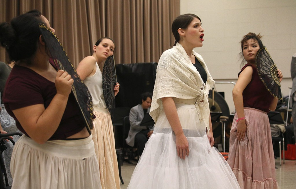 "Graycen Gardner, at center, rehearses as Margarita Xirgu in Osvaldo Golijov's ""Ainadamar."" (Photos by Erin Offenhauser)"