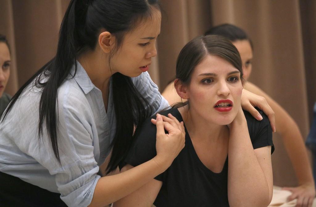Vincentia Geraldine, left, as Nuria, with Graycen Gardner as Margarita Xirgu. (Photos by Erin Offenhauser)