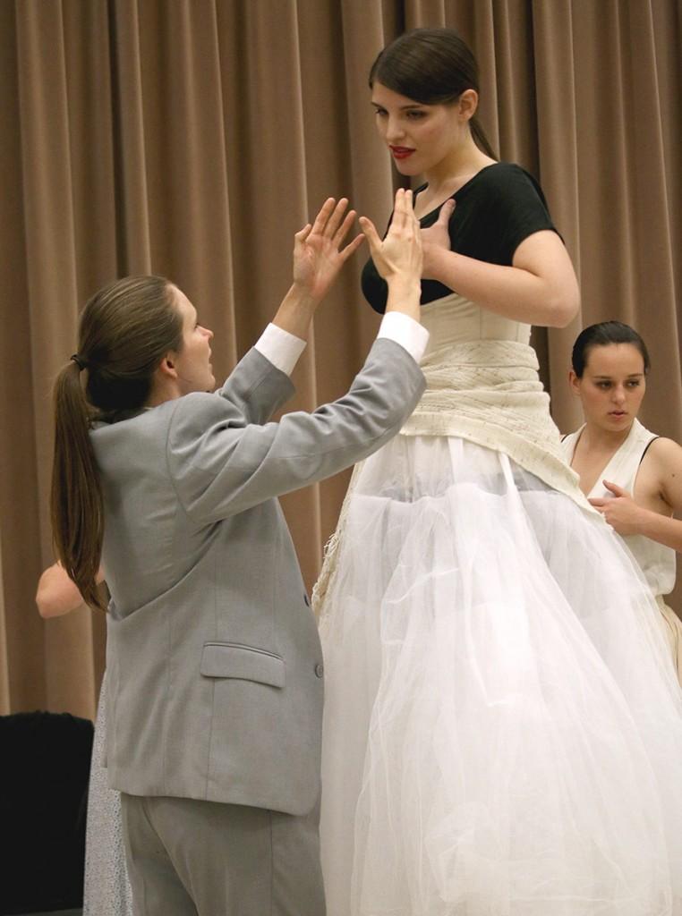 Melissa Treinkman portrays Federico Garcia Lorca, at left, with Graycen Gardner. (Photos by Erin Offenhauser)