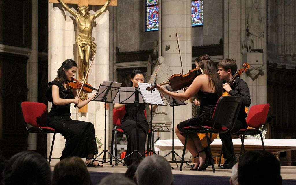 The quartet performs.