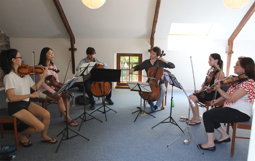 Coaching sessions in chamber music were central to the festival. Here, the quartet works with cellist François Salque, a professor at the Paris Conservatory.