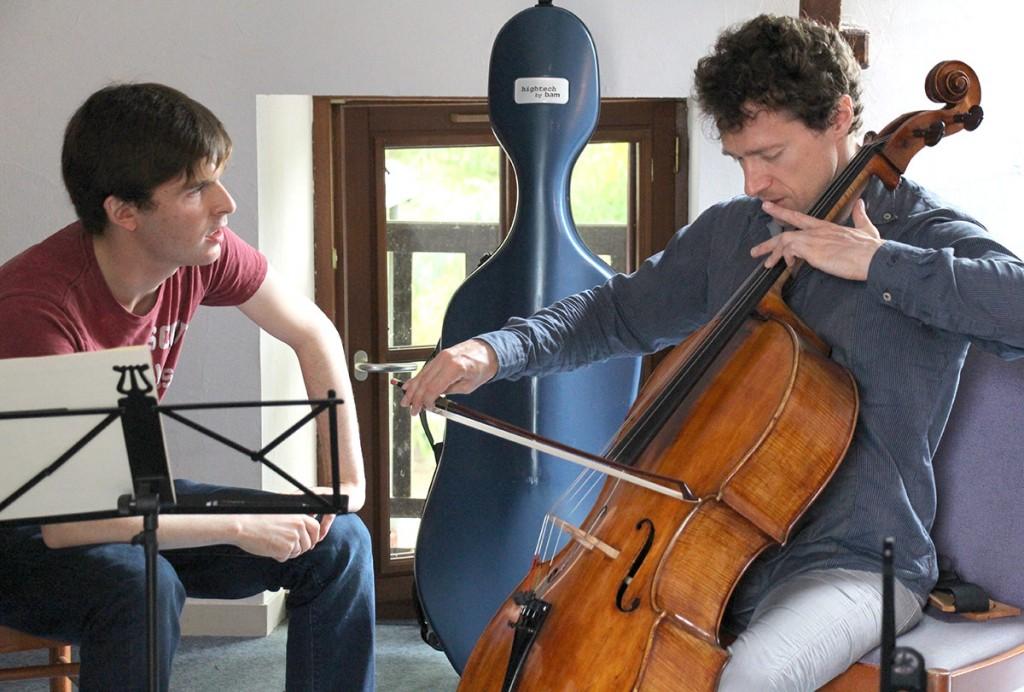 USC student cellist Benjamin Lash with François Salque.