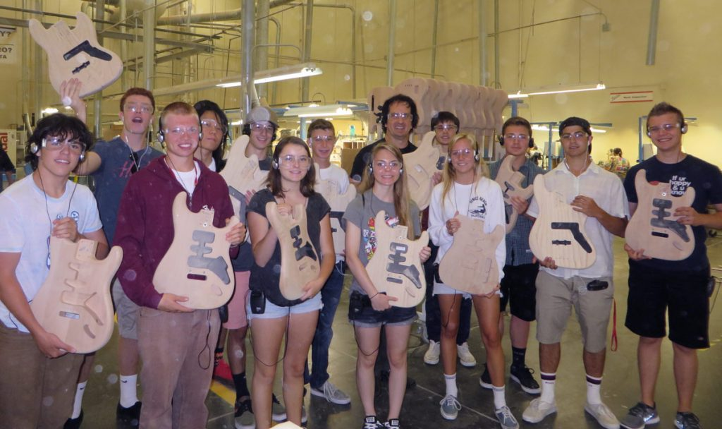 The 2014 class on their field trip to The Fender Guitar Factory in Corona, CA.
