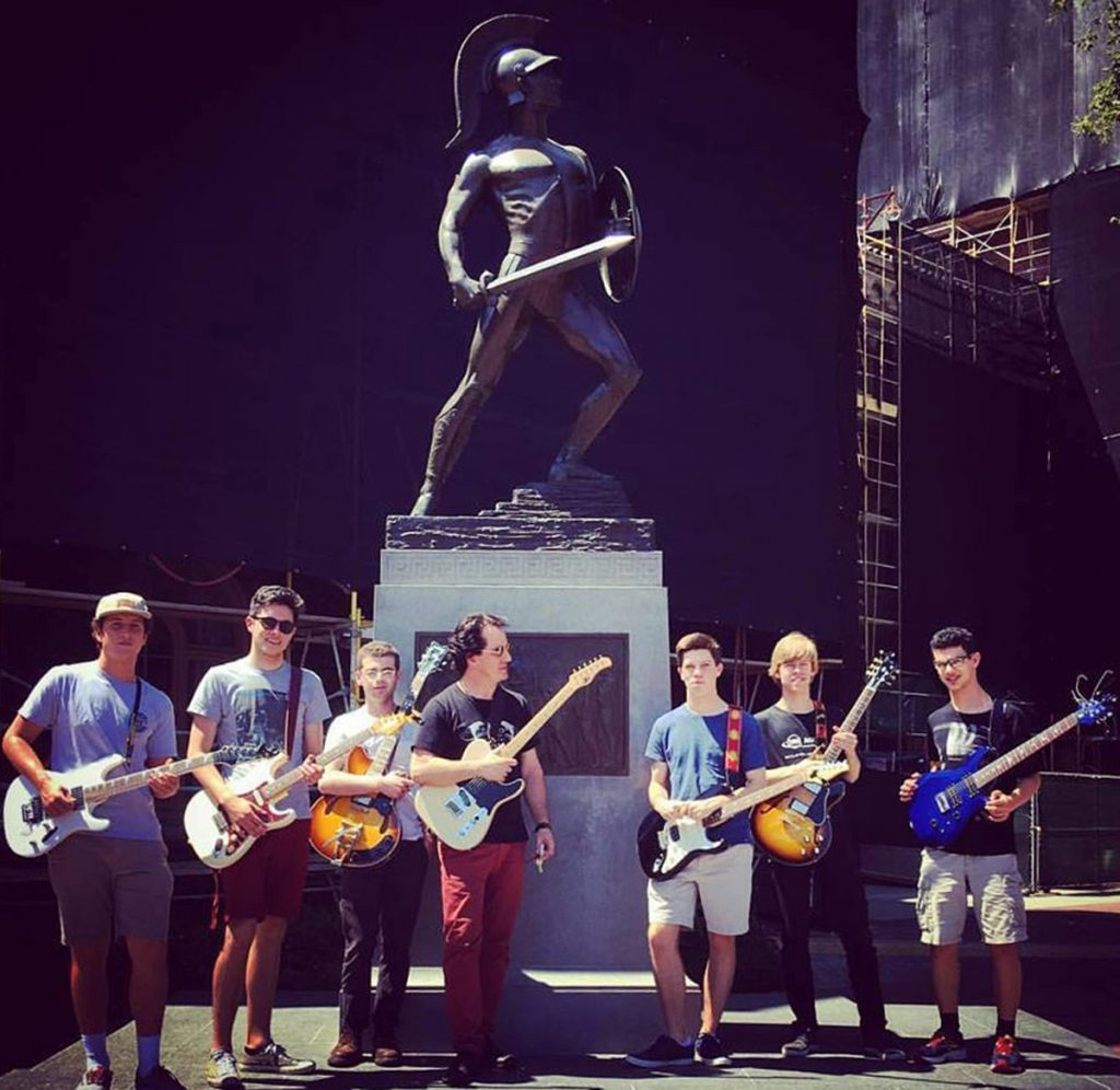 The USC Summer Guitar Seminar visits Tommy Trojan.