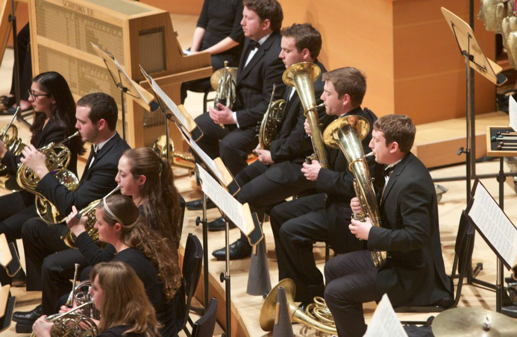 The Winds on stage at Walt Disney Concert Hall.