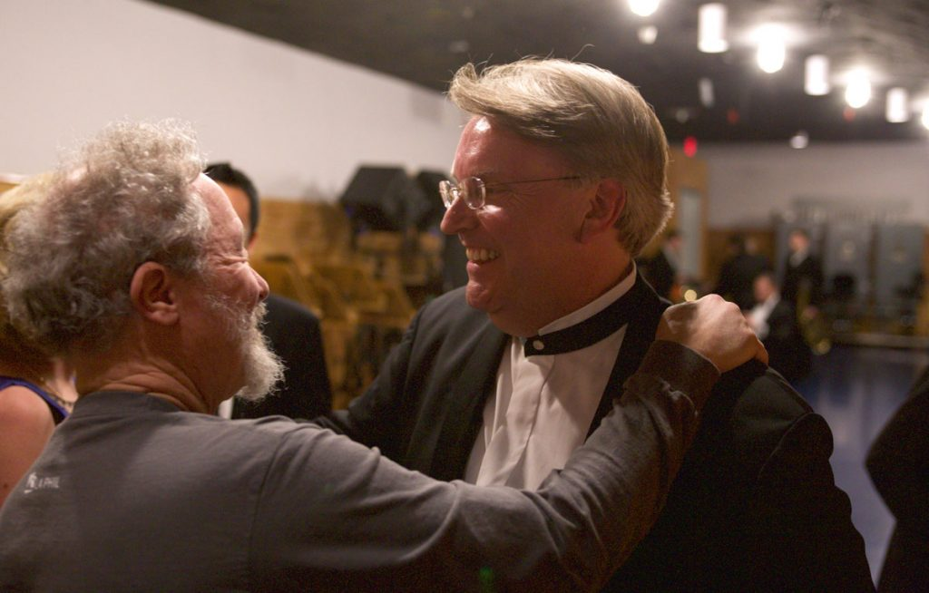 Pianist Kevin Fitz-Gerald greets a friend backstage.