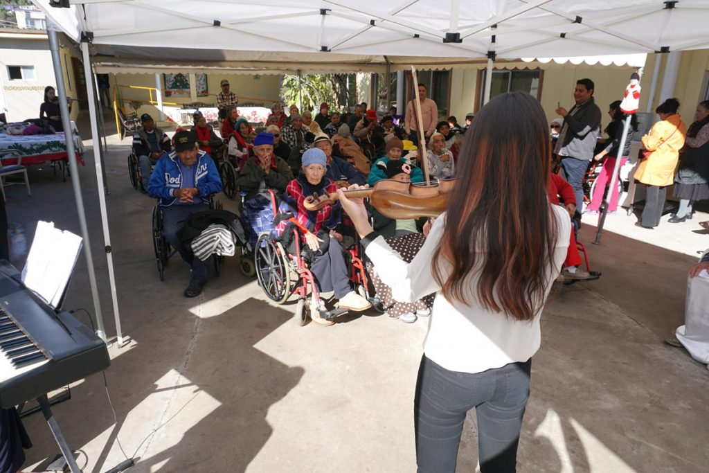 Performing in a retirement community in Ensenada. (Photo by Moises Encino)