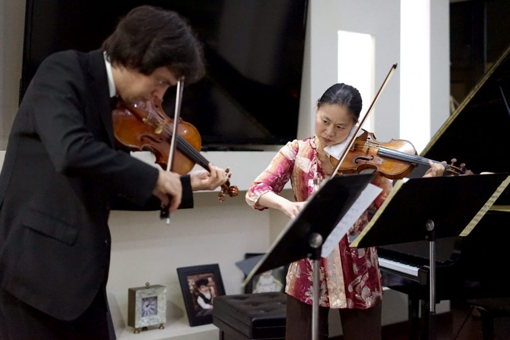 Performing a benefit concert for the Benning Academia de Música at a private home in Ensenada. (Photo by Moises Encino)