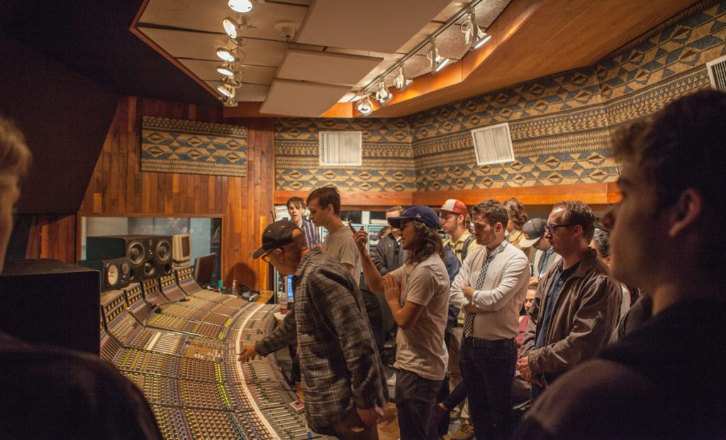 Guest engineer Brian Malouf introduces the Music Production and Popular Music students to United Recording Studios' Focusrite console.