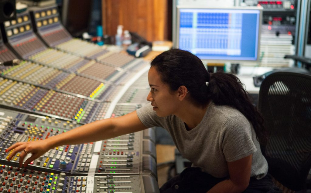 Popular Music student Camila Mora at the console.