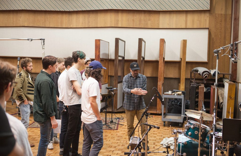 Malouf leads Music Production students through a mic'ing tutorial.