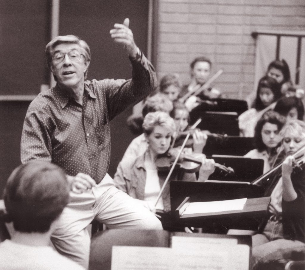 Daniel Lewis rehearsing the USC Thornton Symphony in the early 1990's.