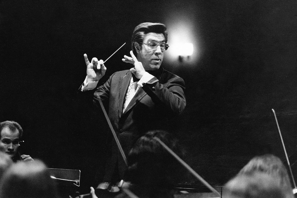 Daniel Lewis conducting the USC Thornton Symphony in 1973.