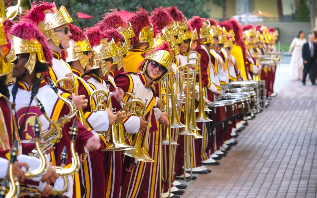The Trojan Marcing Band prepares to open the evening's festivities.