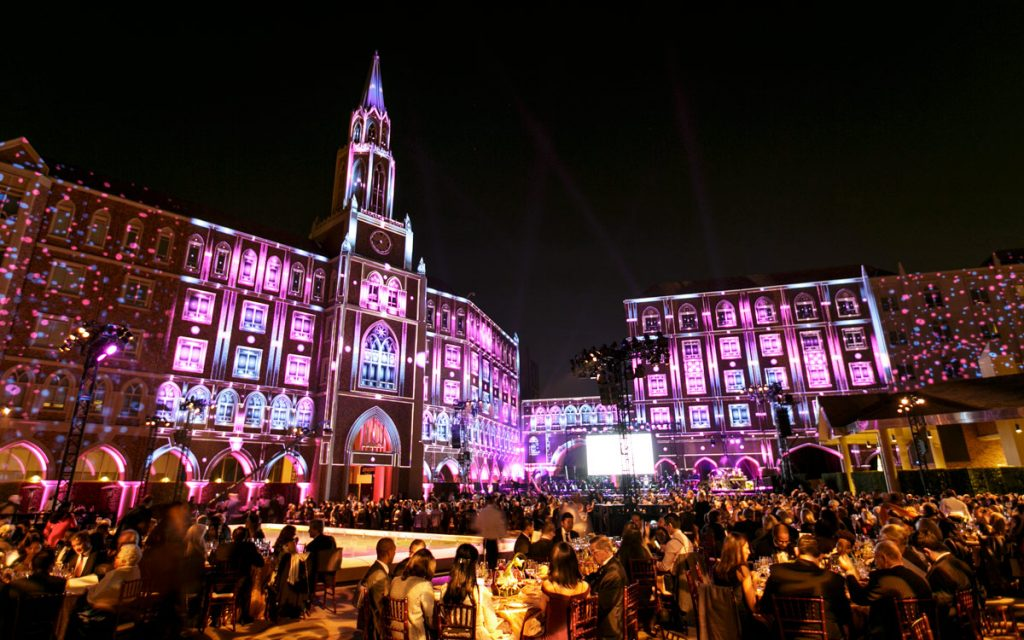 The USC Village was lit in a dazzling projection display by USC School of Cinematic Arts faculty members Mike Patterson and Candice Reckinger.