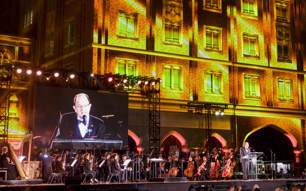 USC President C. L. Max Nikias. speaks before the USC Thornton Symphony.