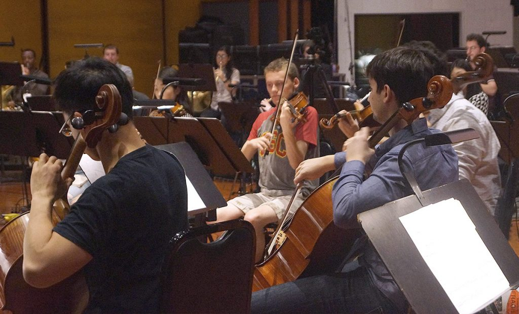 Thornton students, cellist Allan Hon, violist Cameron Audras, and cellist Jared Blajian.