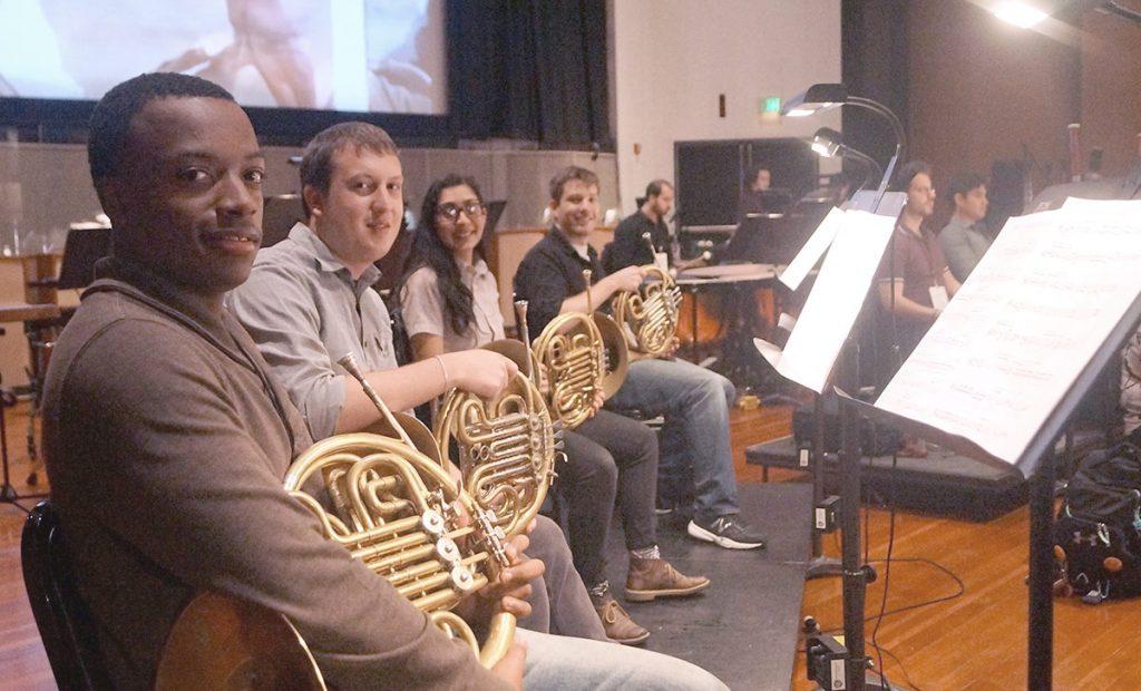 Thornton horn players Malik Taylor, Jason Chilson, Melia Badalian, and Weston McCall.