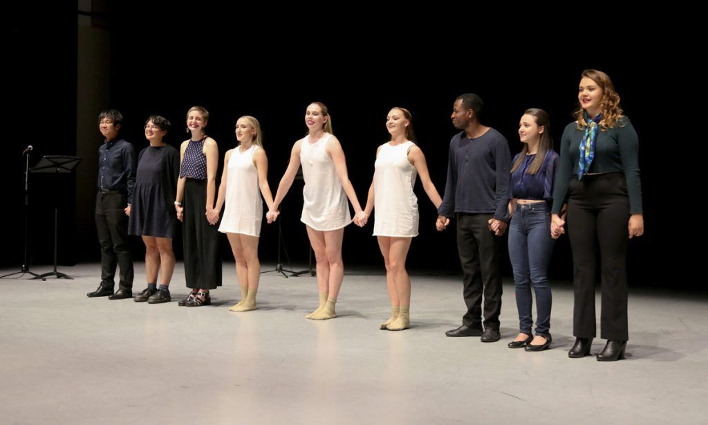 """All That We'll Ever See"" team, from left to right: Hao Chen Wang, Clara Valenzuela, Mary Pettygrove, Lillie Pincus, Kaylin Sturtevant, Whitney Hester, Da'Jon James, Mara Tuffy, and composer Victoria Vasta."