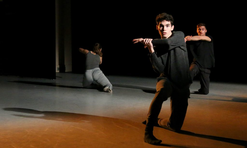 """Agency In Narrative"" featured dancers (left to right) Alyssa Myers, Rae Srivastava, and Jake Tribus."