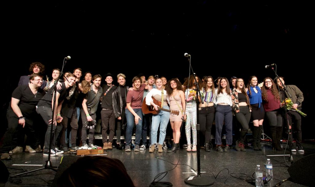 Student performers at the finale of the 2018 Popular Music Senior Showcase