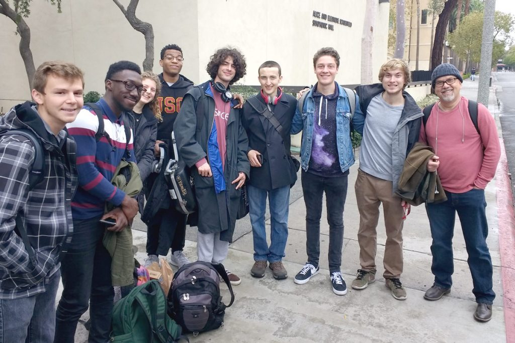 From left to right, students Clinton Blakeley, Paul Cornish, Grace Corsi, Sam Reid, Henry Solomon, Ethan Chilton, Ian Hubbell, Logan Kane, and faculty member Aaron Serfaty prepare to depart for Amsterdam. (All photos courtesy of Stuart Kessler, unless otherwise noted)