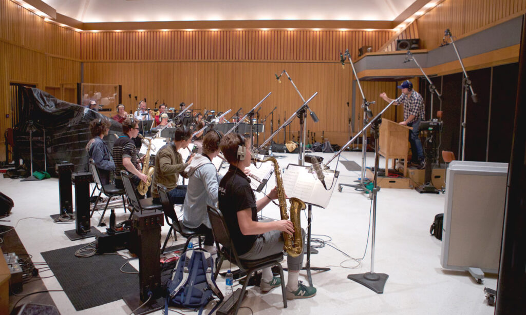 At the legendary Capitol Records' Studio A, the USC Thornton Jazz Orchestra teamed with Thornton's Music Production and Screen Scoring programs for a special recording session. (Photos by Dario Griffin/USC)