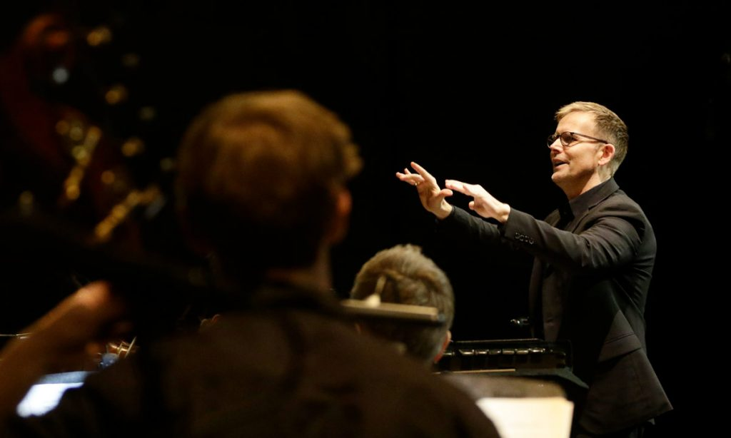 "Composer Craig Hella Johnson worked closely with the USC Thornton Chamber Singers and guest musicians for the April 8th performance of his oratorio, ""Considering Matthew Shepard."" (Photos by Lawrence K. Ho/USC)"