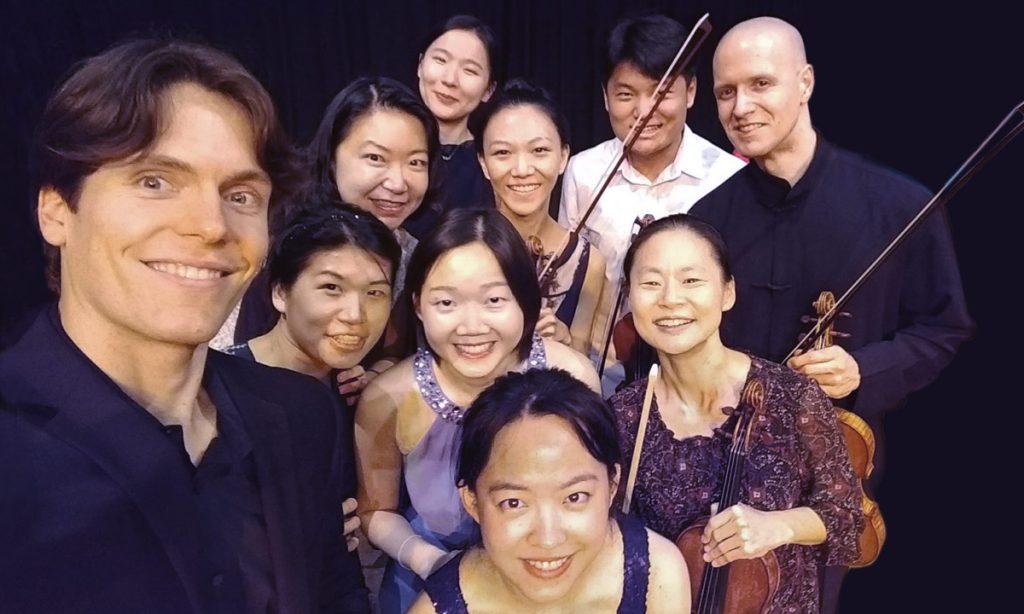 Midori's USC Thornton group. Top Row: Yue Qian (BM '17), graduate student Strauss Shi, and Moni Simeonov (GCRT '09); Row 2: Graduate student James McFadden-Talbot (BM '13), Pianist Jiayi Shi, and Jiyoung Park (MM '15); Row 3: Non-degreed alumna Mei Ching Huang, Yabing Tan (DMA '17), and Midori Goto; At bottom: Graduate student Chang He. (Photo courtesy of Moni Simeonov)