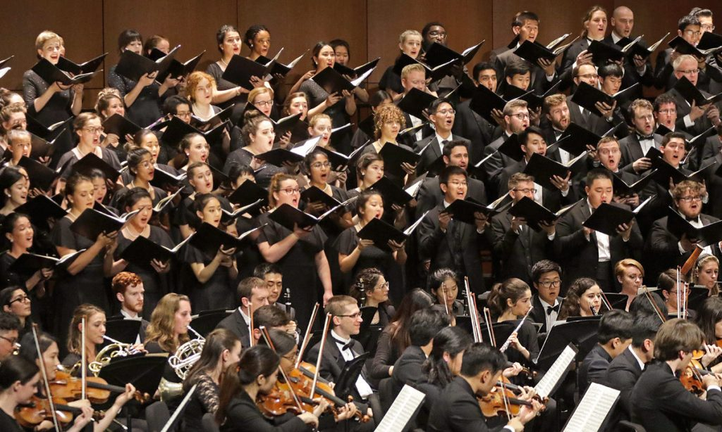Beethoven's Ninth required a huge number of performers squeezed onto the Bovard stage.