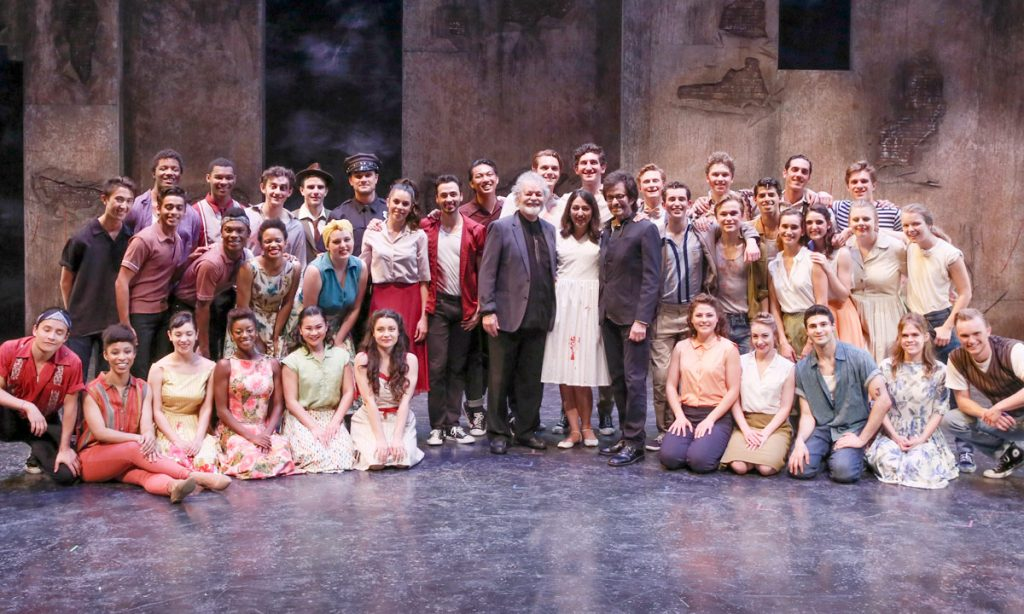 "Opening night, the cast of ""West Side Story"" got a visit from two castmembers from the iconic 1961 film - Russ Tamblyn (Riff) and George Chakiris (Bernardo) (Photo by Ryan Miller)"