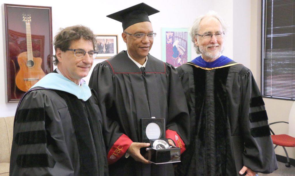 L-R: USC Thornton dean Robert Cutietta, 2018 Outstanding Alumnus Billy Childs ('79), and Composition department chair Donald Crockett.