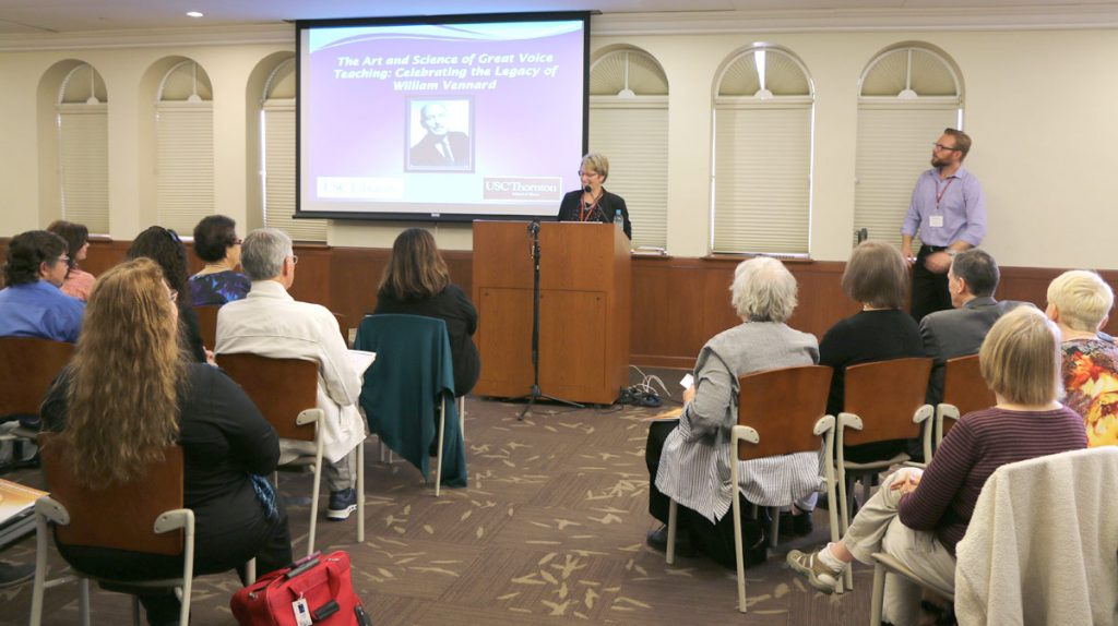 Lynn Helding introduces the Vennard Symposium on Friday, May 18th, 2018, at the USC Music Library.