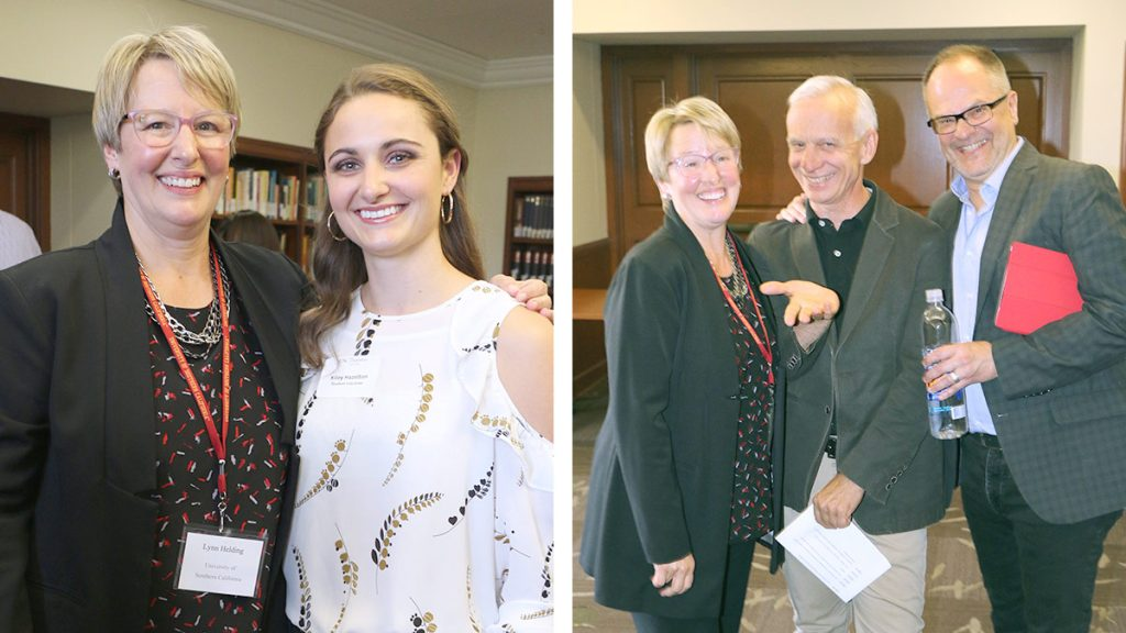 Left: Lynn Helding with master's student Kiley Hazelton. Right: Helding with Vocal Arts & Opera music director Brent McMunn and faculty member Ken Cazan.