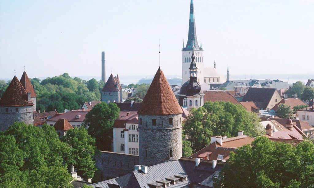 The spectacular medieval skyline of Tallinn, Estonia.
