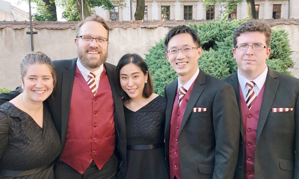 Allison Cheng, Victoria Bailey, Andrew Schultz, Supitcha Kansirisin, Yen-Hsiang Nieh, and Max Vowel II in Kraków, Poland.