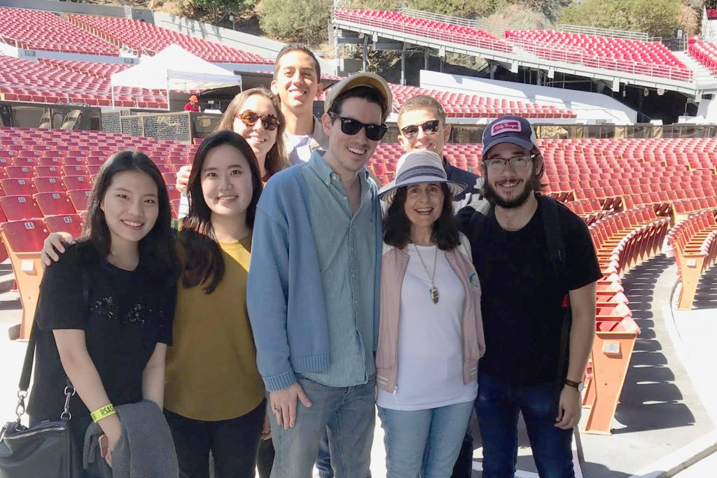 Students with faculty member Trudy Green. Front row  L-R: Ashley Ko, Sunhyun Park, Patrick Dillon Curry, Trudy Green and Brady Moses. Back row L-R: Anna Gandolfi, Jonathan Rubio and Danny Garcia.