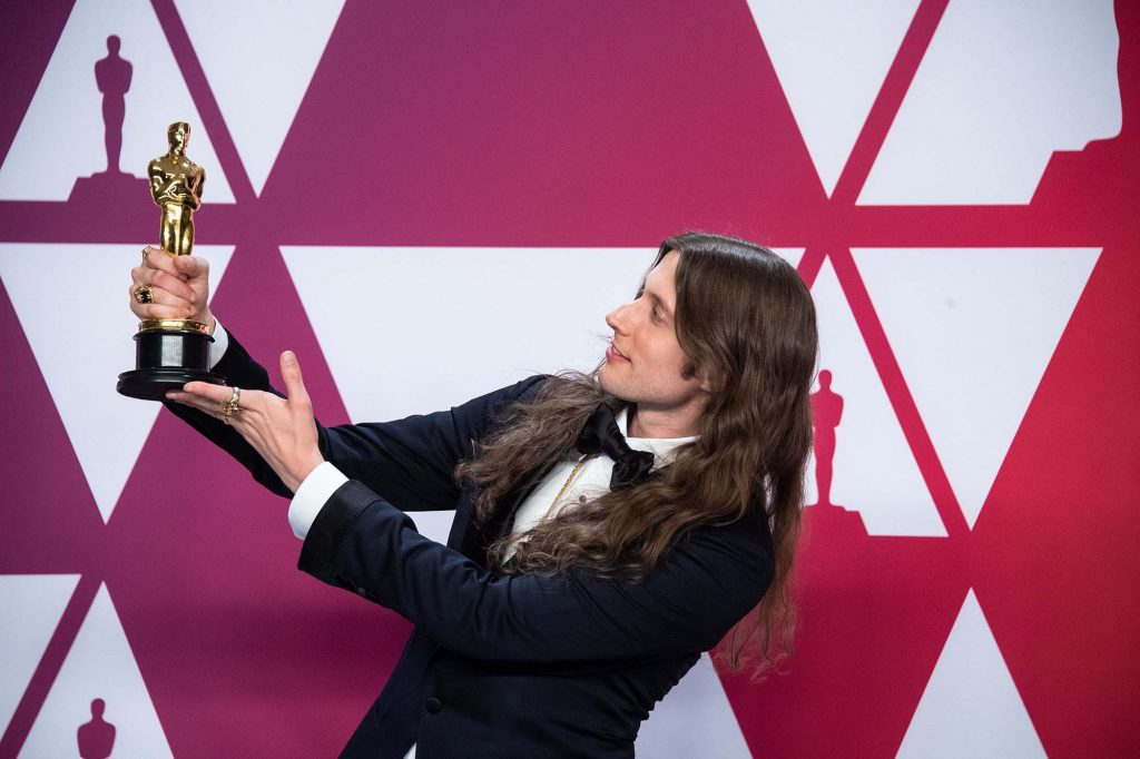 Ludwig Goransson poses backstage with the Oscar® for achievement in music written for motion pictures (original score) during the live ABC telecast of the 91st Oscars® at the Dolby® Theatre in Hollywood, CA on Sunday, February 24, 2019. (Photo by Mike Baker  / ©A.M.P.A.S.)