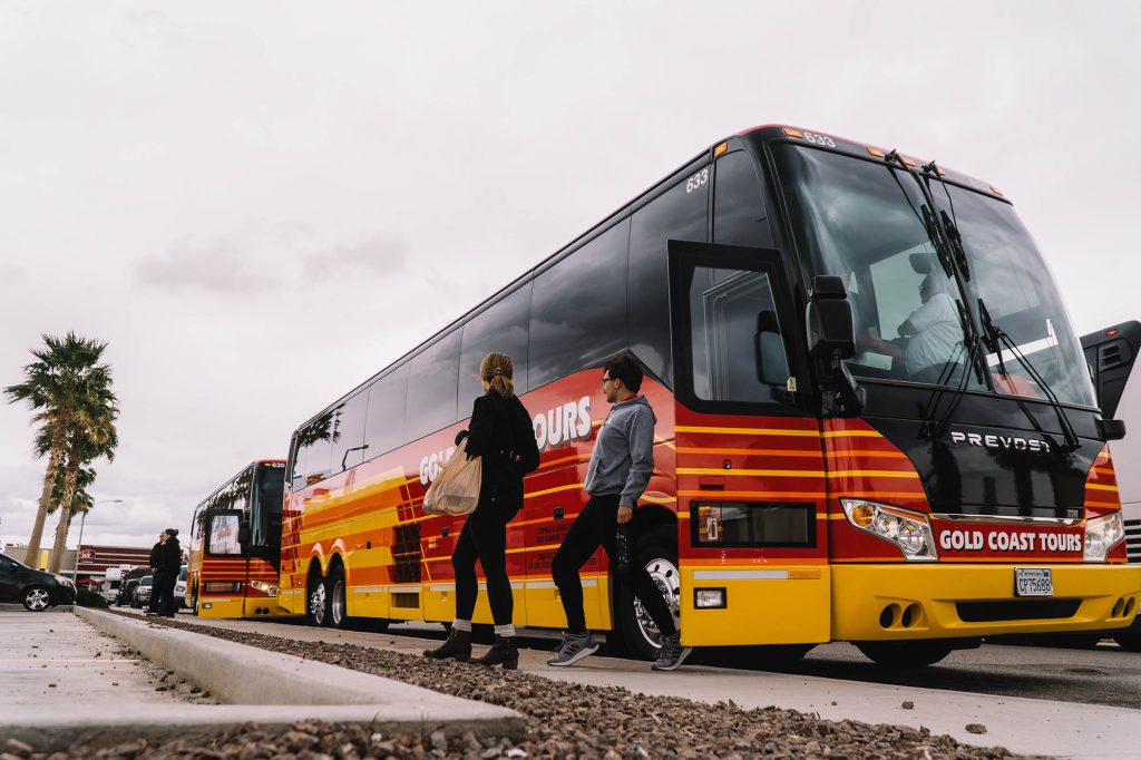 Anna Gilpatrick and Noah Brenneman step off the bus on the way to Arizona. (Photo by Chris O'Brien)