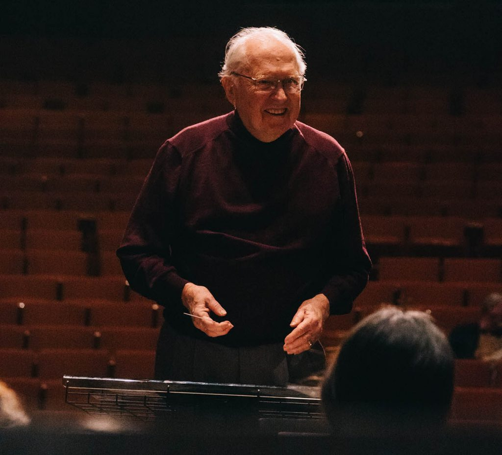 H. Robert Reynolds leads a rehearsal at CBDNA 2019. (Photo by Chris O'Brien)