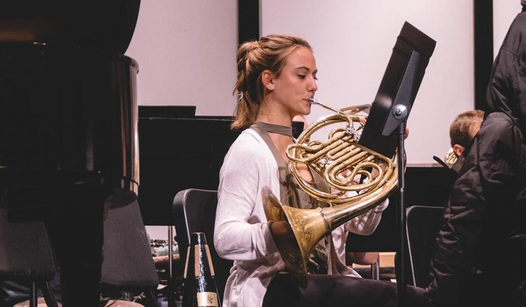 Anna Gilpatrick at a rehearsal at CBDNA 2019. (Photo by Chris O'Brien)