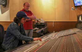 Joey Messina-Doerning (left) recording the USC Thornton Symphony while Richard McIlvery advises.