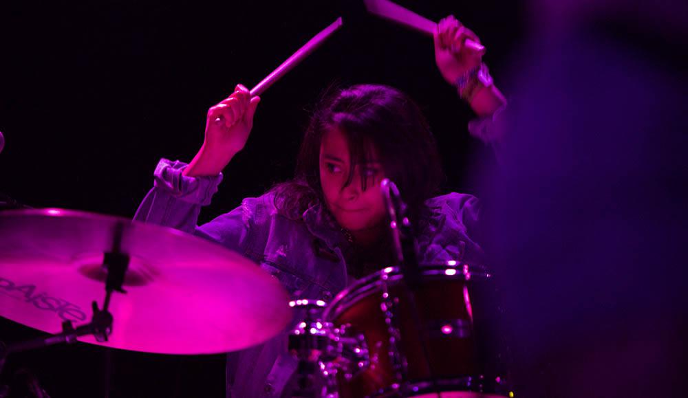 Kelly Cruz on drums. (Photo by Dario Griffin/USC Thornton)