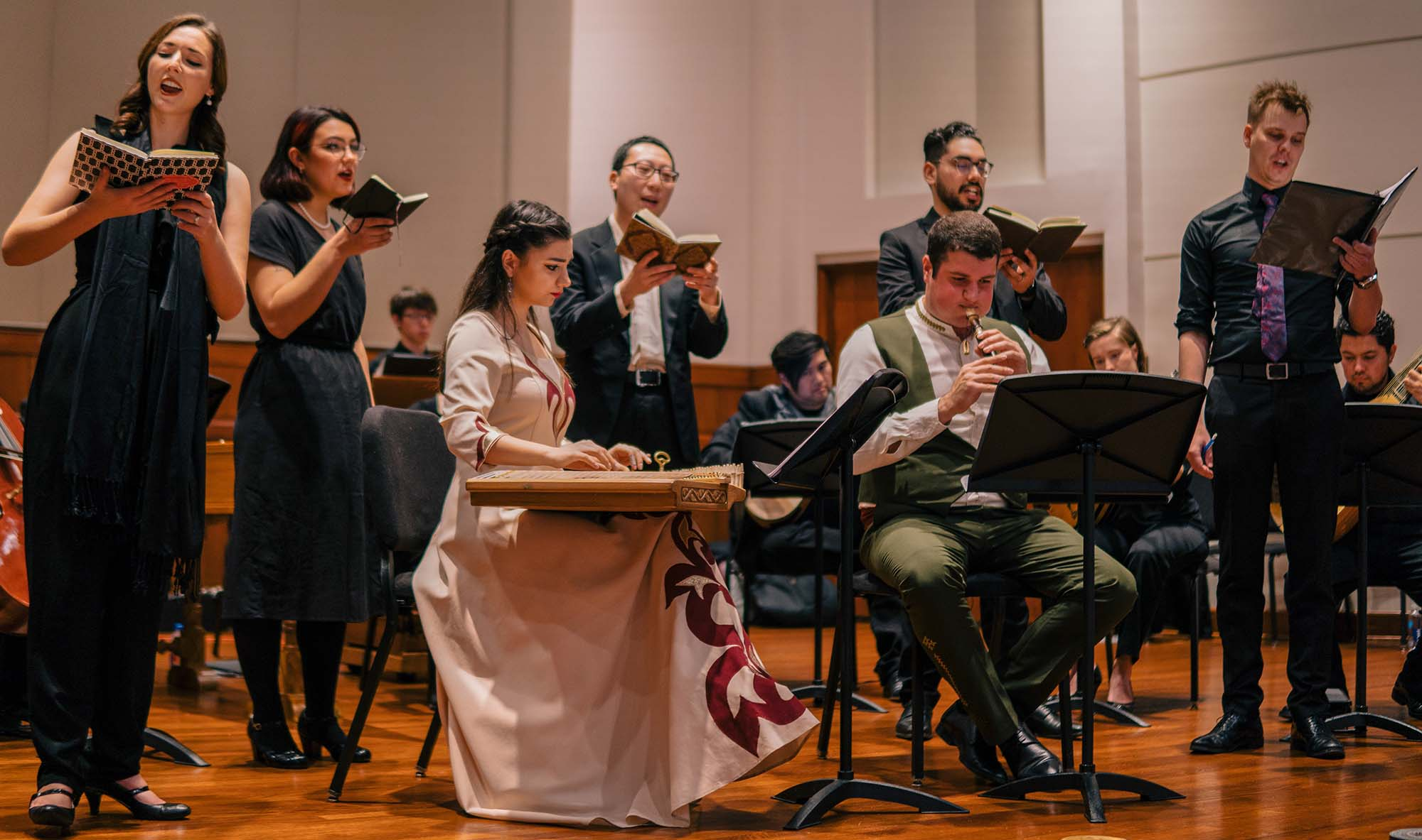 Adam Gilbert leads the Baroque Sinfonia in a concert featuring music from Austria, Poland, and Armenia. (Photo by Chris O'Brien)