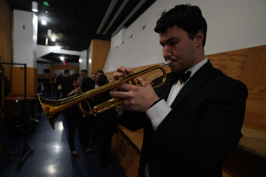 Trumpeter Troy Sargent prepares backstage at Walt Disney Concert Hall.