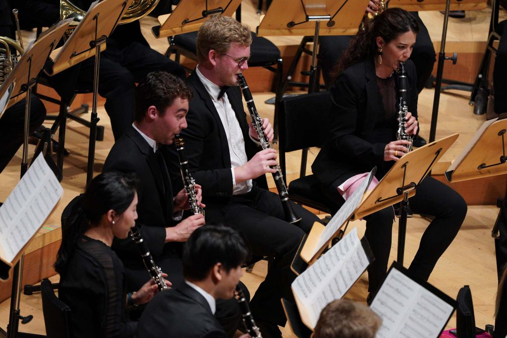 (From left) Max Opferkuch, Frederik Von Wurden and Fatima Trives Escolano performing at Walt Disney Concert Hall.