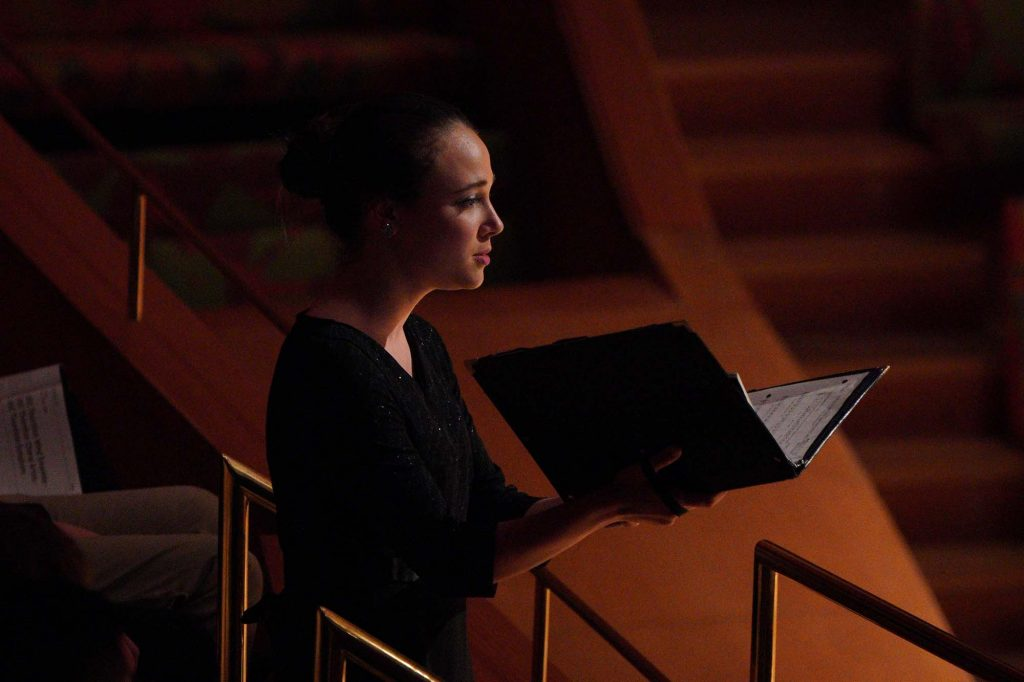 """Soloist Maura Tuffy singing Frank Ticheli's """"Angels in the Architecture"""" in the balcony of Walt Disney Concert Hall."""