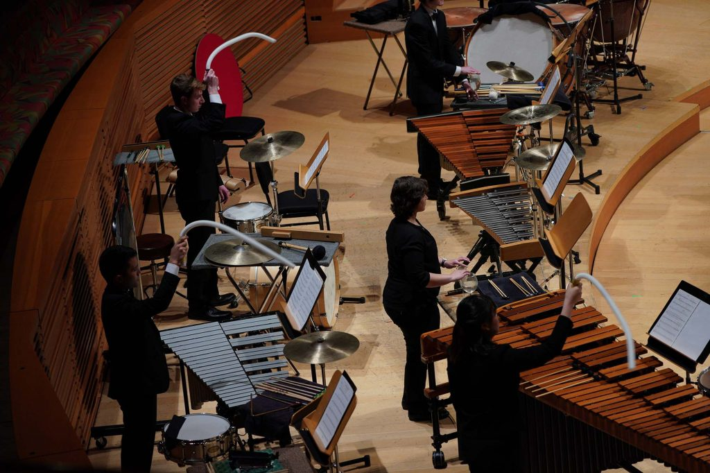 "USC Thornton percussionists perform Frank Ticheli's ""Angels in the Architecture."""