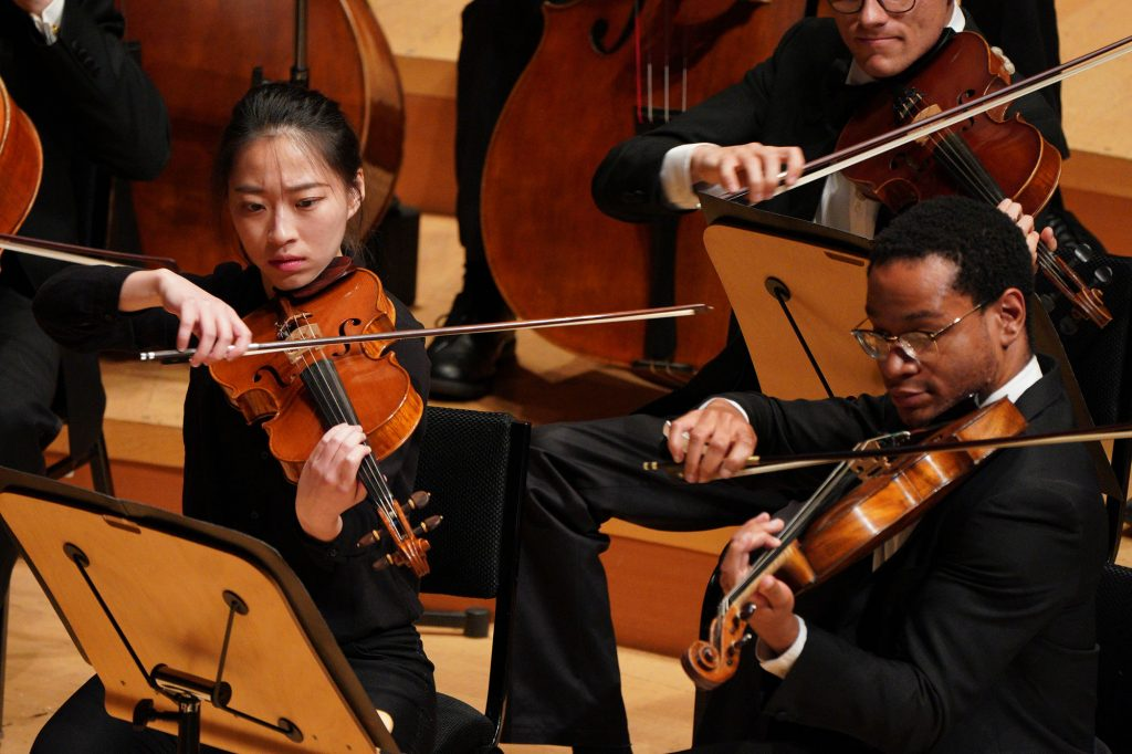 Violists Yu-Ting Hsu (left) and Bradley Parrimore (right) performing at Walt Disney Concert Hall.